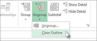 Click Ungroup, and then click Clear Outline