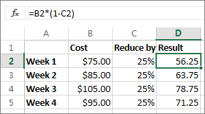 Example showing reducing an amount by a percentage