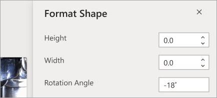 Shows shape formatting controls