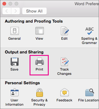 In the Preferences dialog box, Print is highlighted