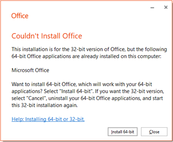 "Office (64-bit or 32-bit) couldn't be installed"" error when trying"