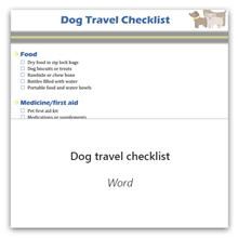 Dog travel checklist in Word