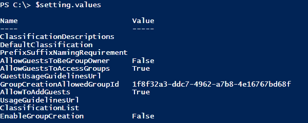 Screenshot of list of the current configuration values