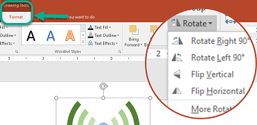 The Rotation commands are available on the Drawing Tools Format tab of the toolbar ribbon. Select the object you want to rotate, then click the ribbon.