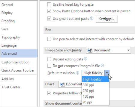 Setting the default image resolution