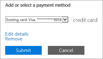 "Screenshot showing the ""Edit details"" link on the Change payment details page"