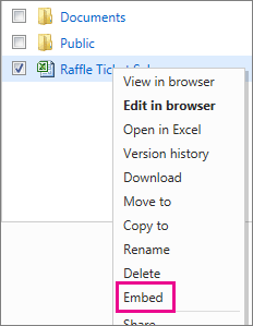 I need help embedding an excel file on onedrive into a for Embed a forum into your website