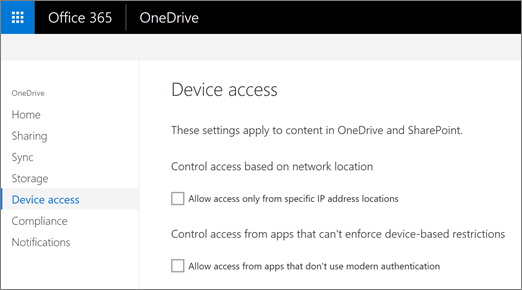 The Device access tab of the OneDrive admin center