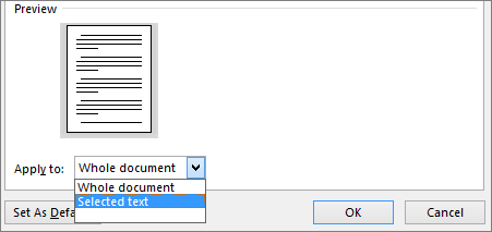 The Apply To options are shown in the Page Setup dialog