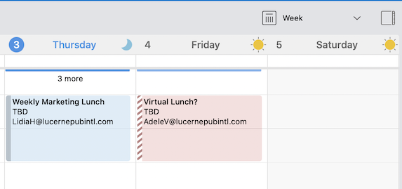 Indicator when events are above or below your current calendar grid view