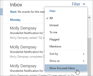 A screenshot of the Filter menu with Show Focused Inbox selected