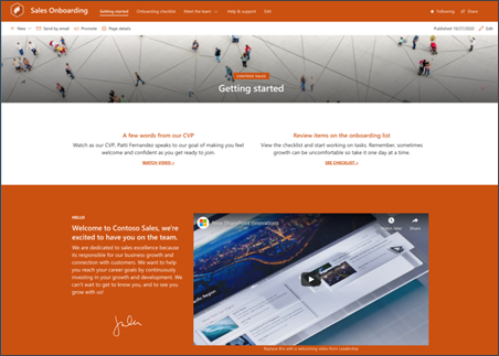 Image of the new employee onboarding getting started page