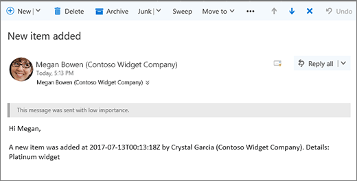 Email sent by Microsoft Flow when an item changed