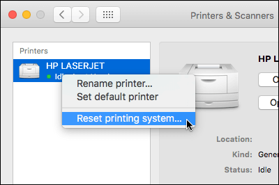 Control Click the printers list to access Reset Printing System on OSX