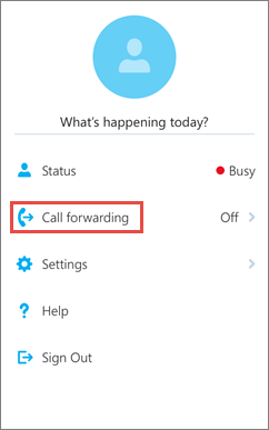 Skype for Business for iOS home screen call forwarding option