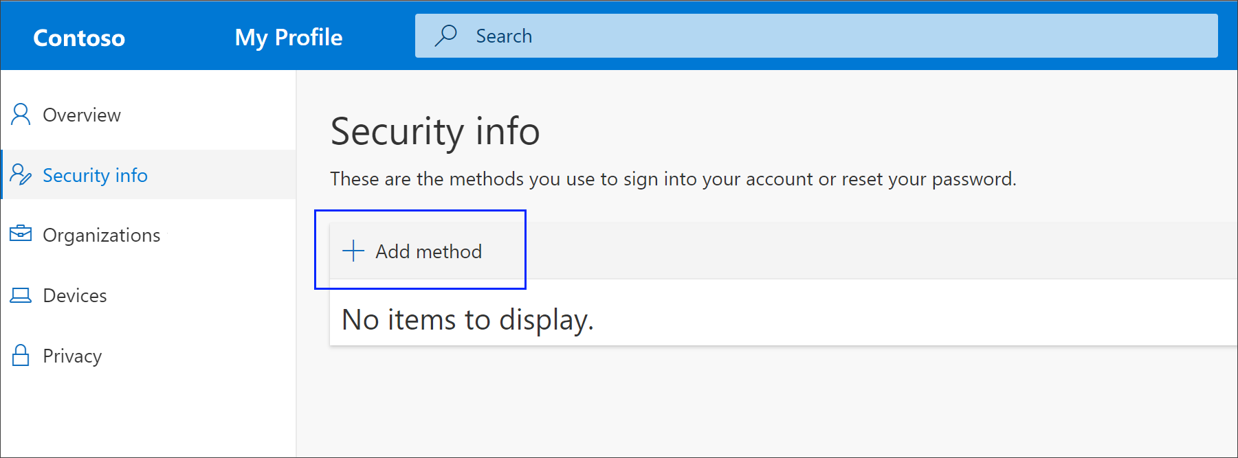 Security info page with highlighted Add method option