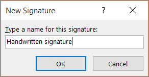 Outlook Type a Name for New Signature