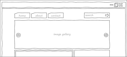 """hand-drawn"" wireframe of a web page"