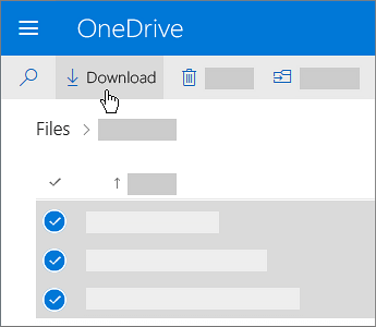 Screenshot of the selecting OneDrive files and downloading them.