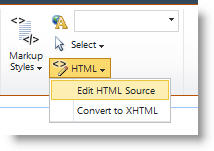 Edit HTML Source command