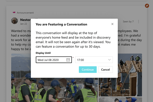 Screenshot showing a Yammer featured conversation being scheduled
