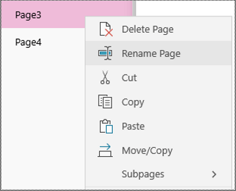 Rename pages in OneNote for Windows 10 app