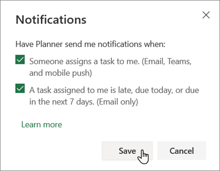 Planner notifications settings box