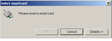 Insert smart card prompt