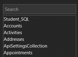 The Search box for the Add Tablest Task pane