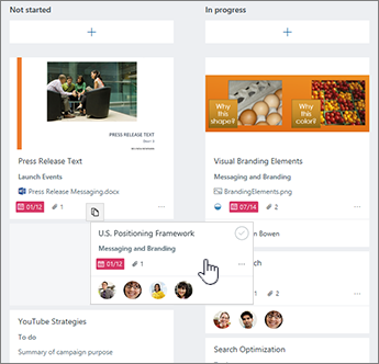 Drag tasks to the appropriate column