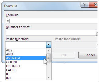 Formula box with function menu