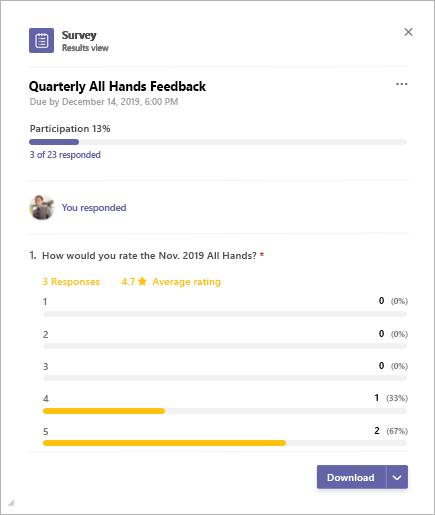 Microsoft Teams Survey app results