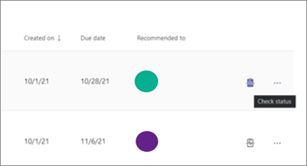 Select ... Check status to see if recommended learning is Not started, In progress, or Completed