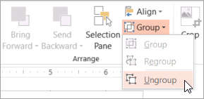 Selecting Ungroup on the Group menu