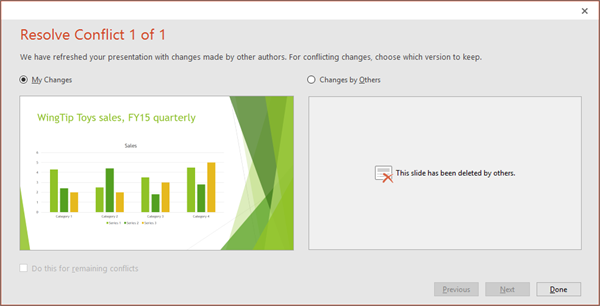 Shows conflicting changes dialog in PowerPoint