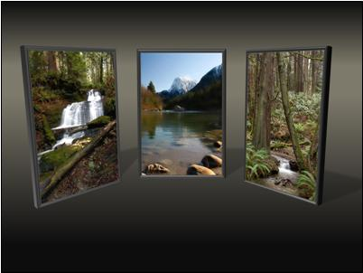 Transition effect for picture triptych: split out