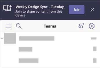 A banner in Teams saying that Weekly Design Sync - Tuesday is nearby with the option to join from your mobile device.