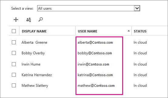 User Name column in the Office 365 admin center.