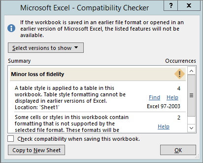 Compatibility Checker showing minor loss of fidelity issues