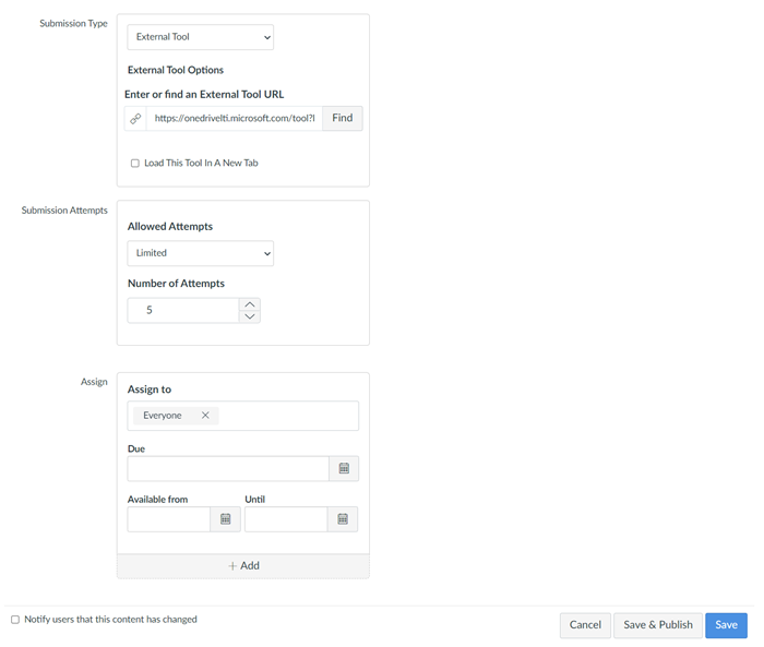Fields for Submission types, Submission attempts, and Assign
