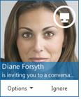 Screenshot of IM request dialog box
