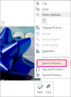 Save as Picture command on the shortcut menu