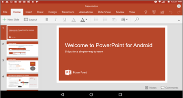 Landscape view on PowerPoint slide in Android