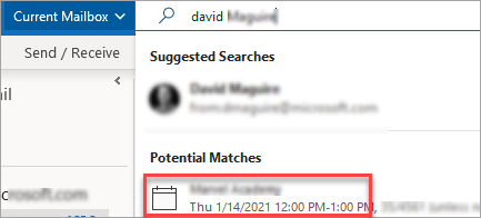Meeting suggestions in search
