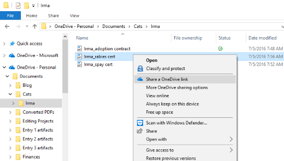 How to share a file via Microsoft OneDrive on Windows 10