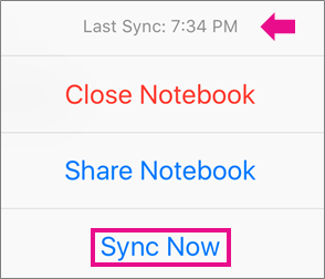 The iPhone Sync Now command