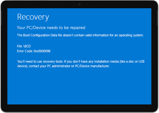 """A blue screen with the title """"Recovery"""" and a message that your device needs to be repaired."""