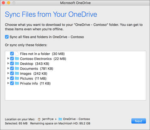 Screenshot of the OneDrive setup menu for selecting which folders or files to sync.