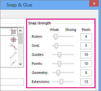Snap strength sliders in Snap & Glue in Visio 2016