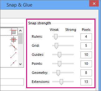 Snap strength sliders in Snap & Glue in Visio 2016